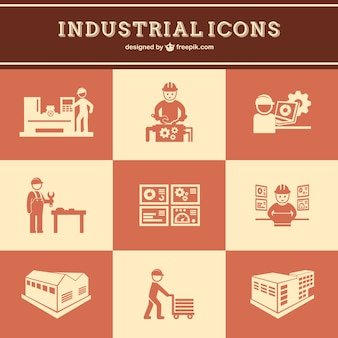 Industrial work icons set