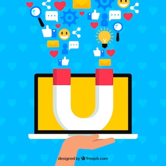 Influence marketing concept with hand holding laptop