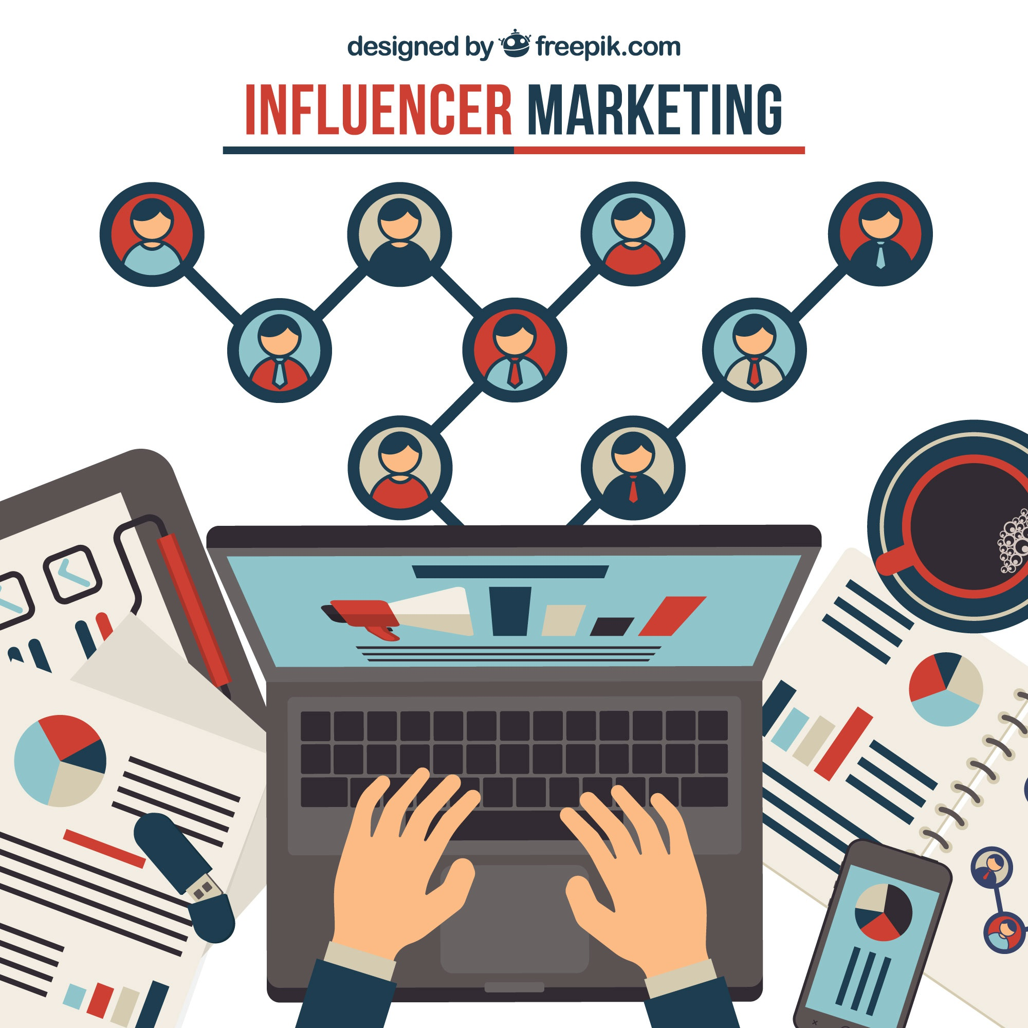 Influence marketing concept with hands typing on laptop