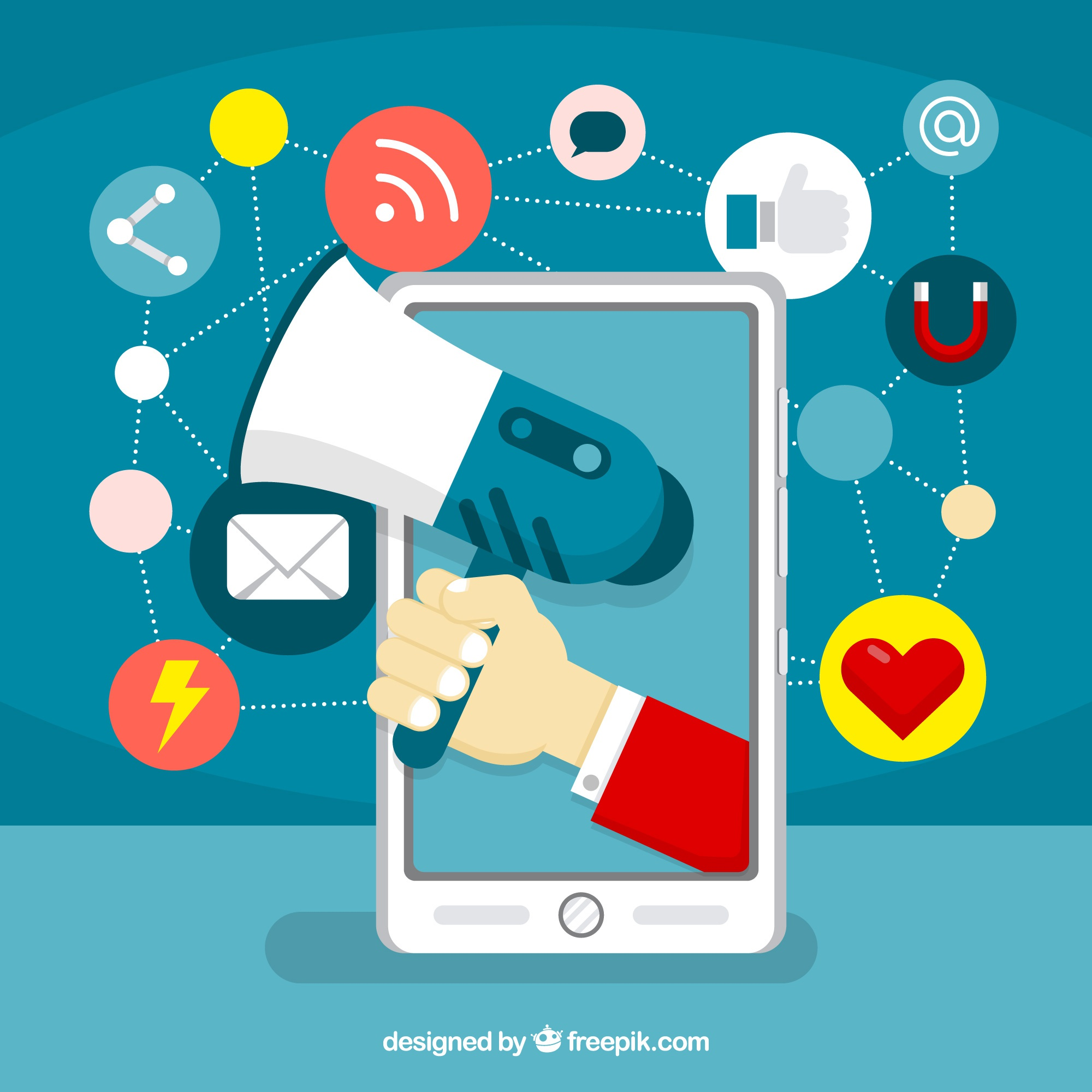 Influence marketing concept with speaker and smartphone