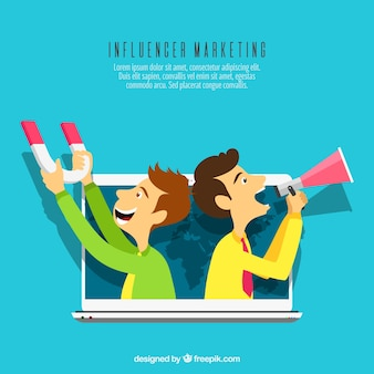 Influence marketing concept with two men with loudspeakers