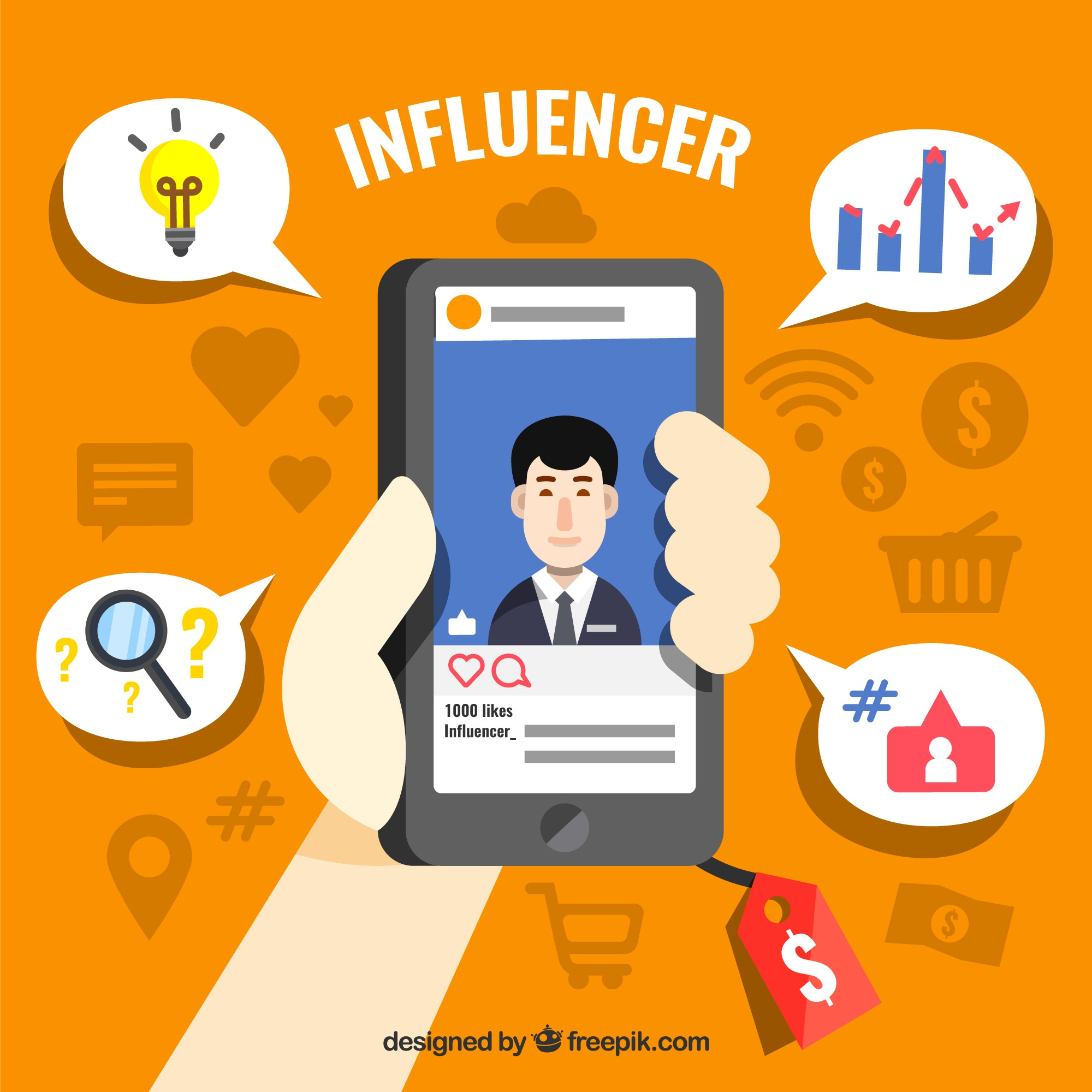 Influence marketing design with hand holding smartphone