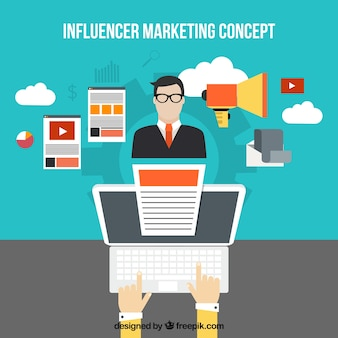 Influencer marketing concept with businessman