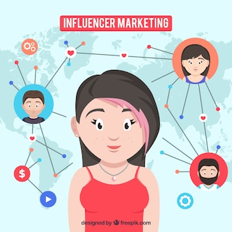Influencer marketing concept with connected persons
