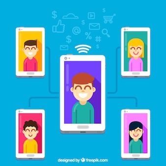 Influencer marketing concept with connected smartphones