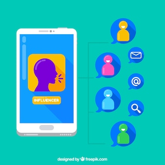 Influencer marketing concept with smartphone