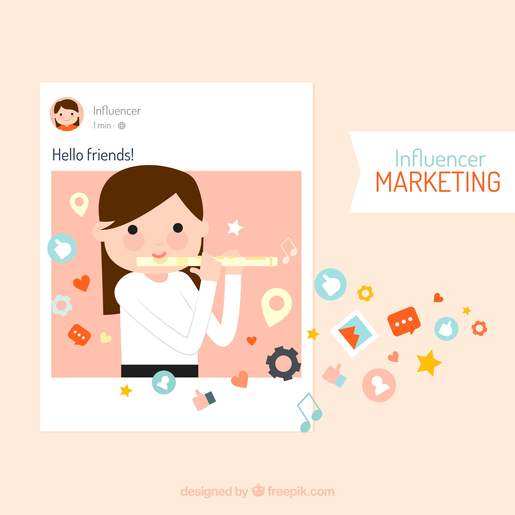 Influencer marketing vector with girl playing flute