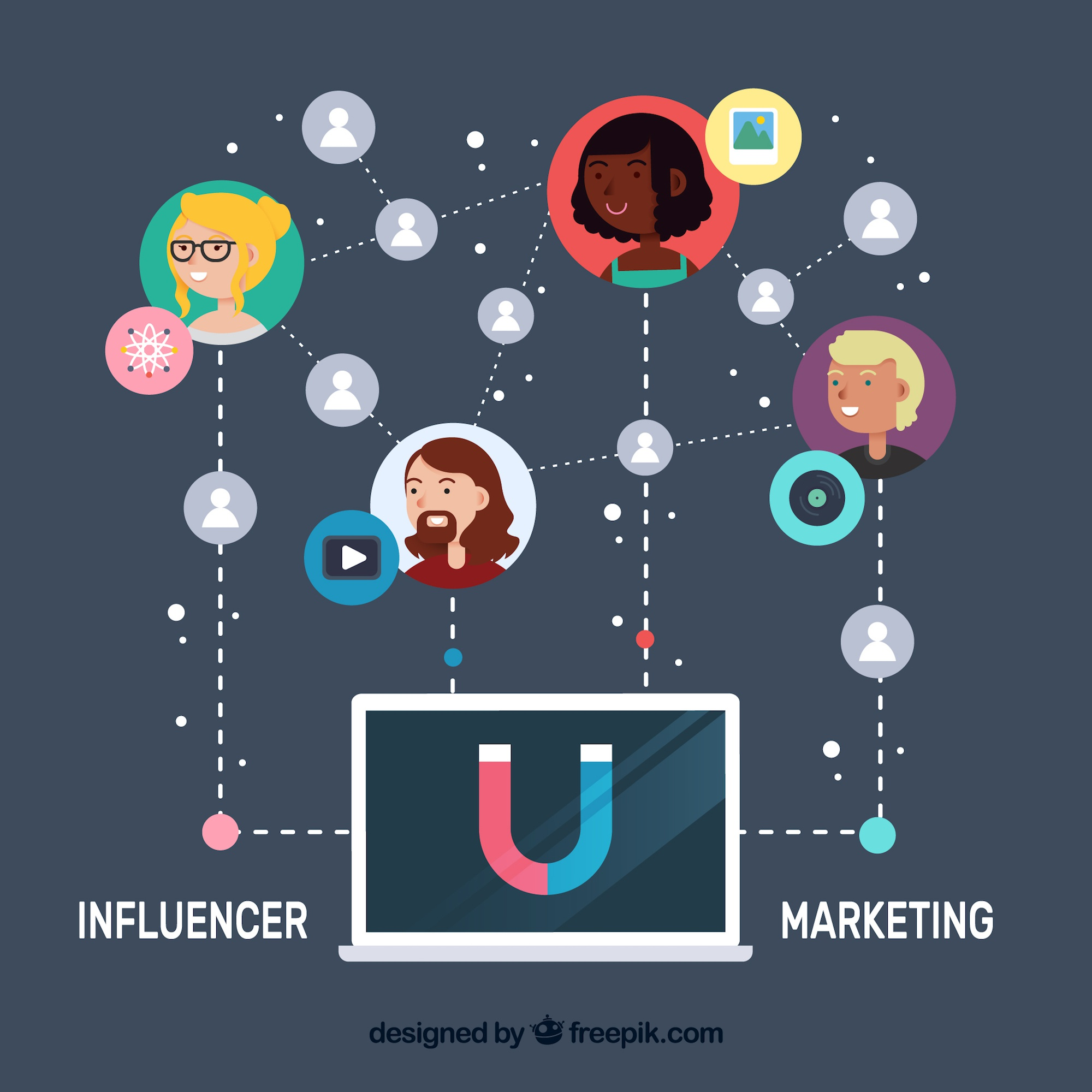 Influencer marketing vector with laptop