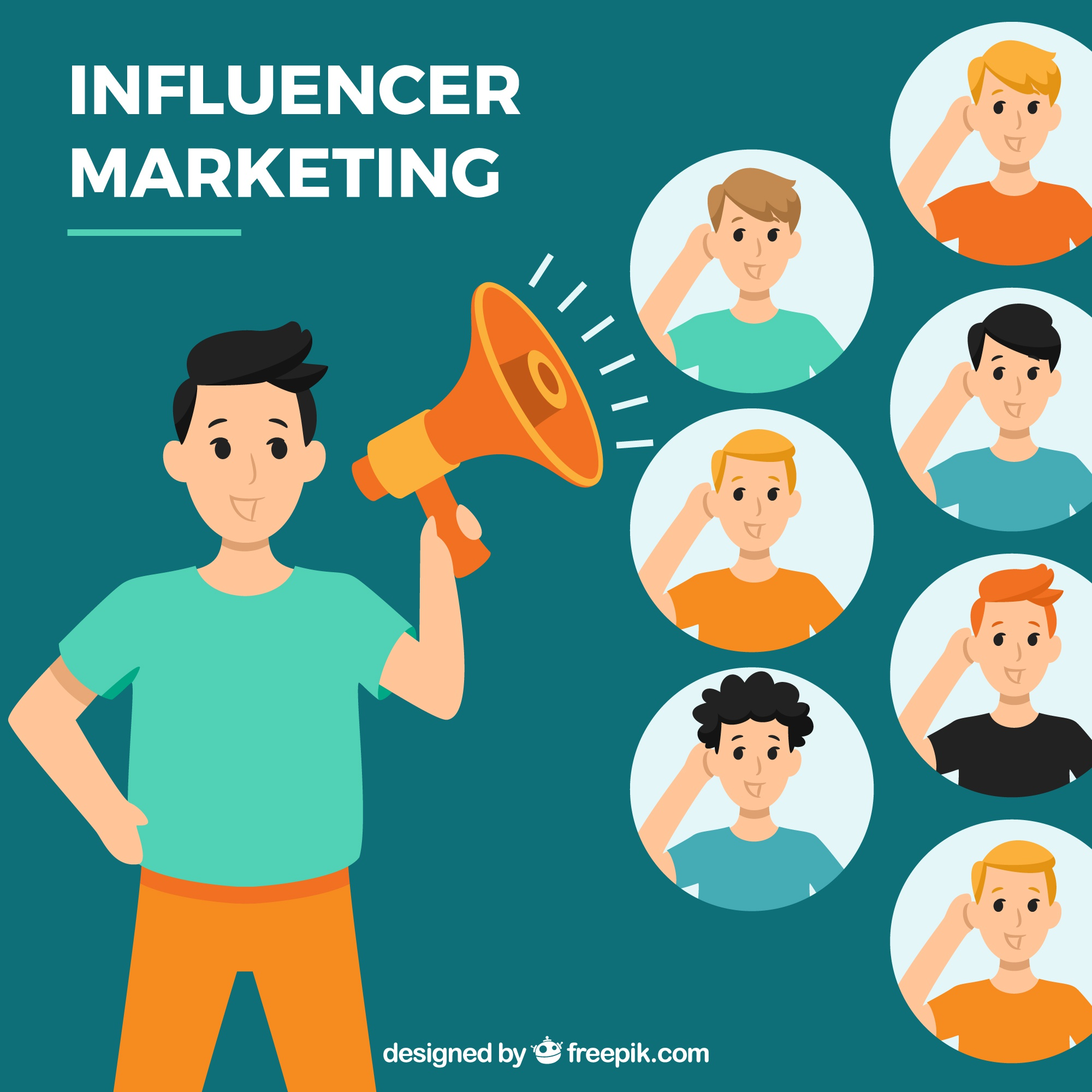 Influencer marketing vector with people listening