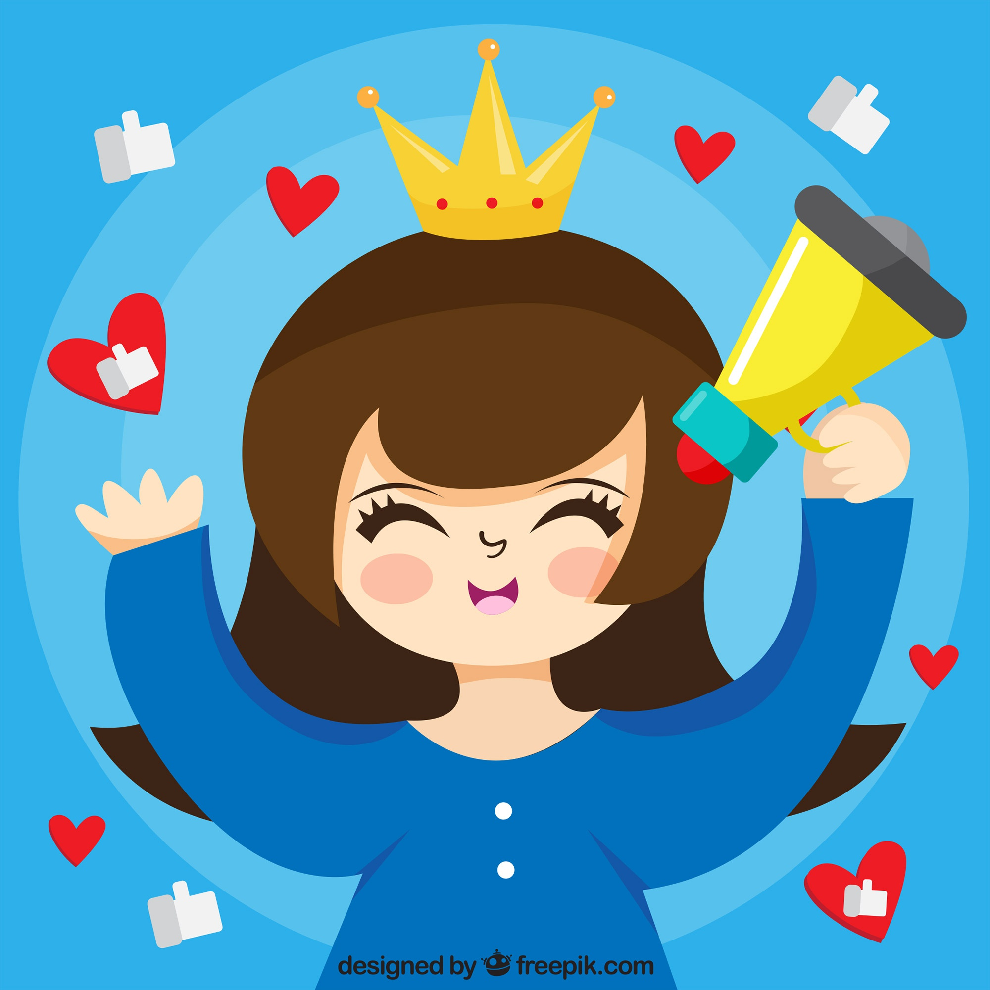 Influencer marketing vector with princess