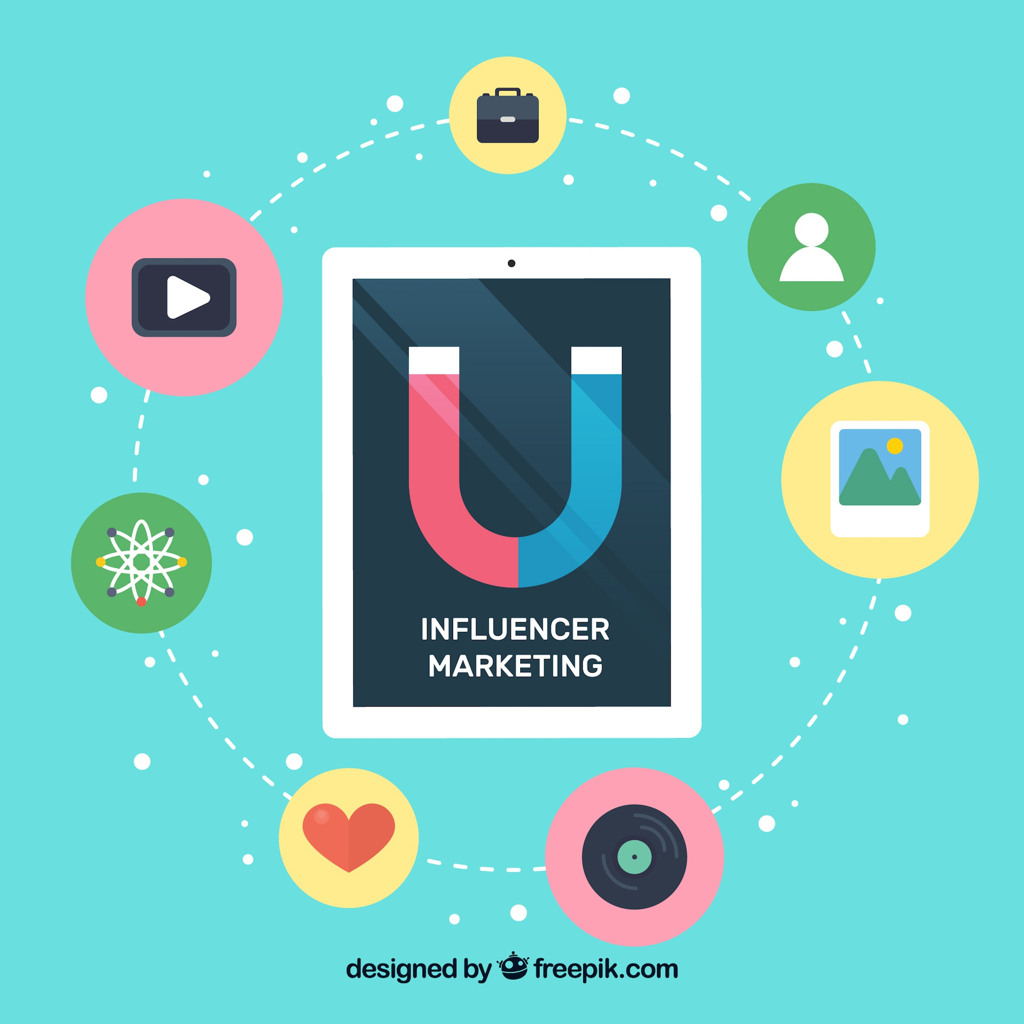 Influencer marketing vector with tablet