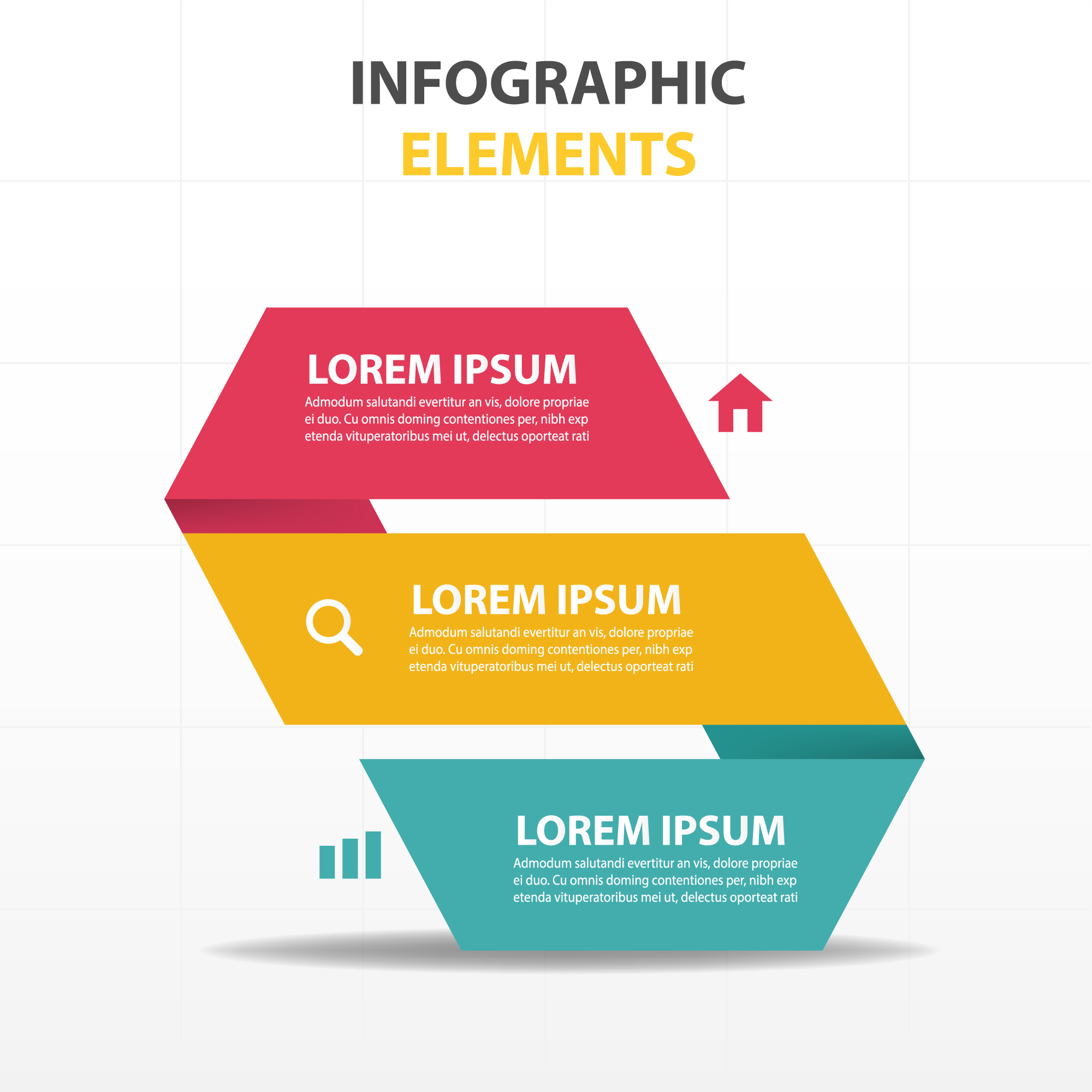 Infograph with a 3 color ribbon