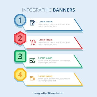 Infographic banners with colored elements
