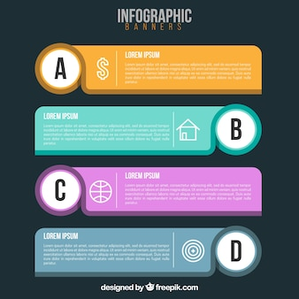 Infographic banners with decorative elements in flat design