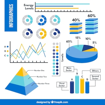 Infographic elements in blue tones