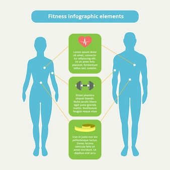 Infographic elements of fitness sports and healthcare vector illustration