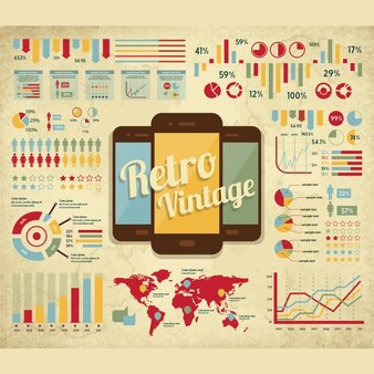 Infographic elements set with mobiles in vintage style