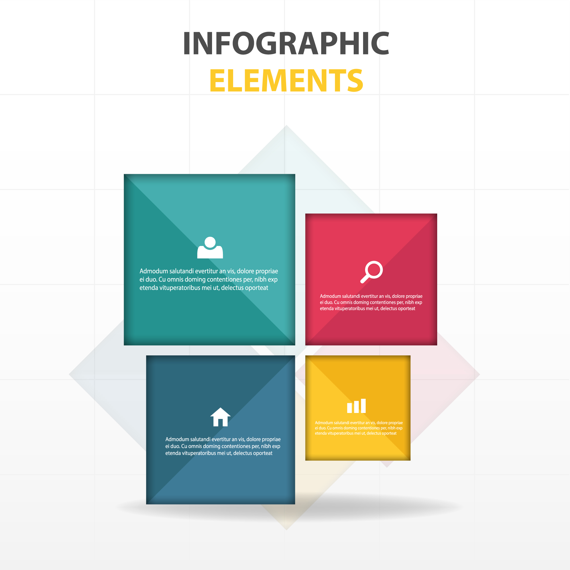 Infographic elements, square shapes
