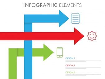 カラフルな矢印のインフォグラフィック要素。