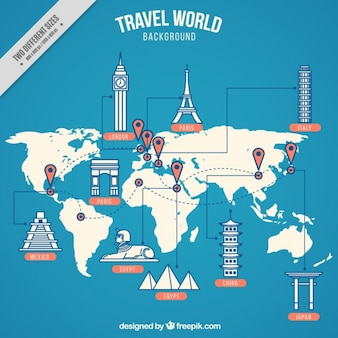 Infographic map with landmarks in flat design