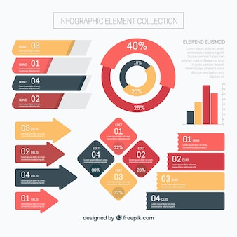 Infographic steps element collection