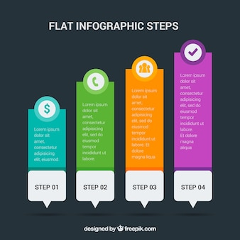 Infographic steps with colorful icons
