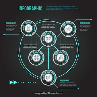 Infographic template in technological style