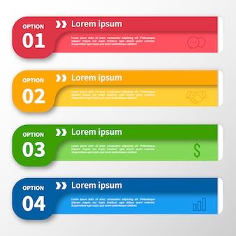 インフォグラフィックテンプレートの複数色のバナーデザイン