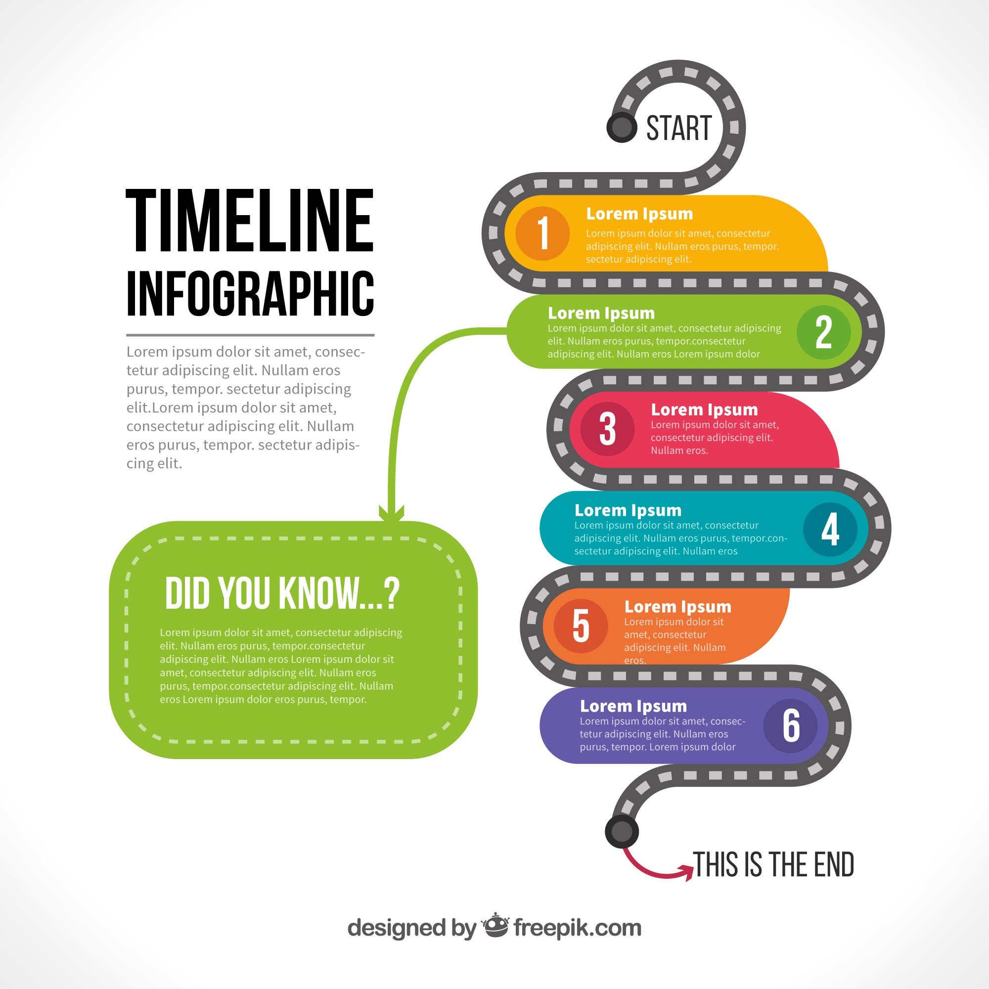 Infographic template of colored timeline with six steps