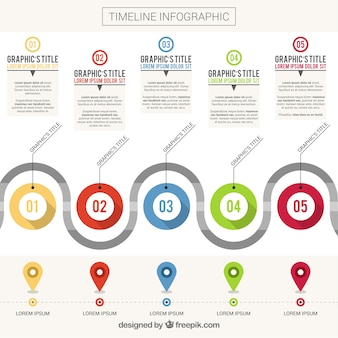 Infographic template of timeline with colorful shapes