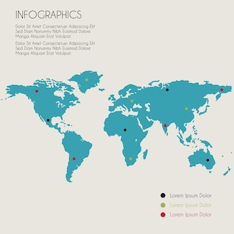 Infographic template of world map