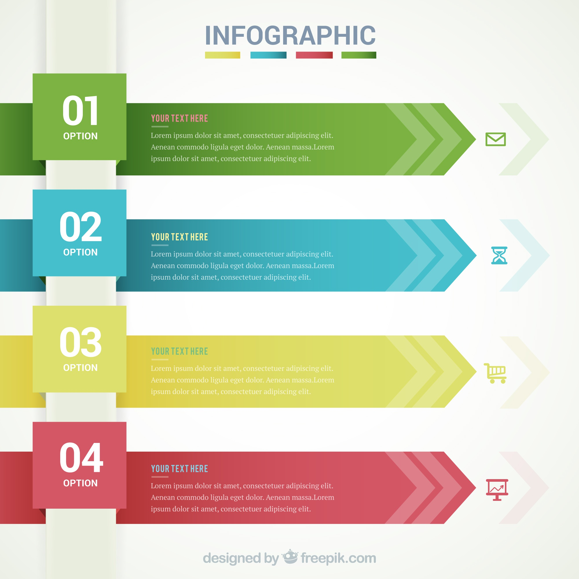 Infographic template with arrow banners