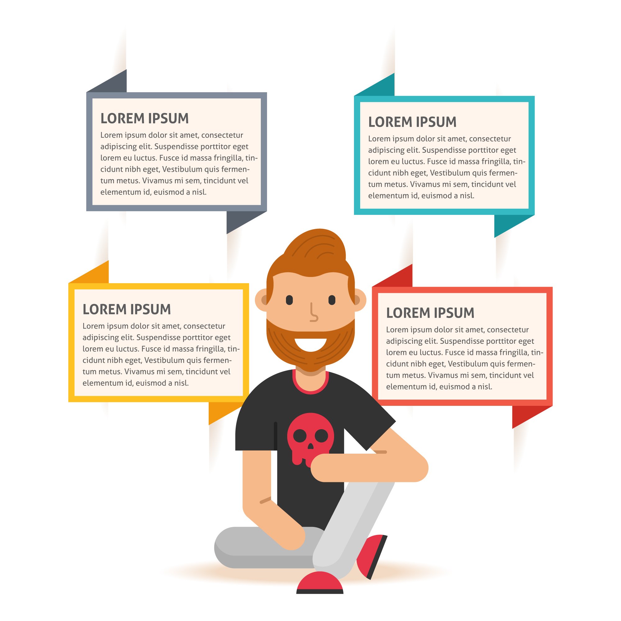 Infographic Template with Bearded Man Character