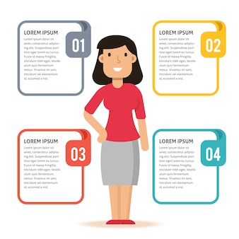 Infographic Template with Casual Woman Character