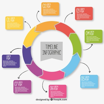 Infographic template with colorful round timeline