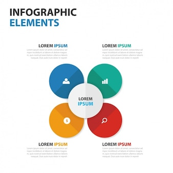 Infographic template with four circles in different colors