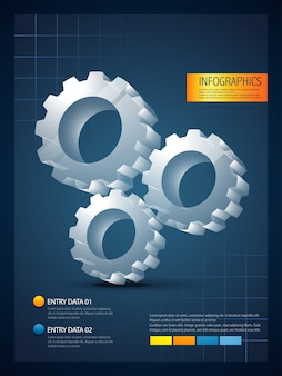 Infographic template with gearwheel