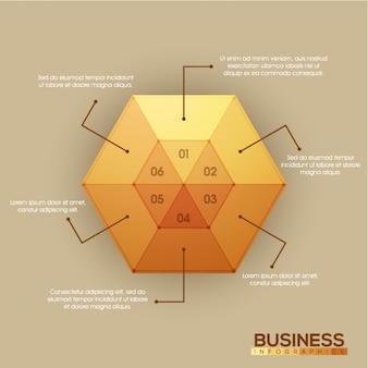 Infographic template with hexagon-shaped