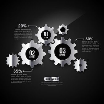 Infographic template with metallic gears