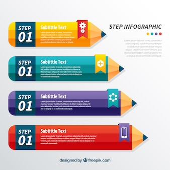 Infographic template with pencils