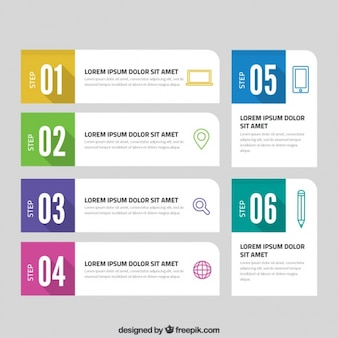 Infographic template with six colorful steps
