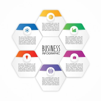 Infographic template with six hexagons
