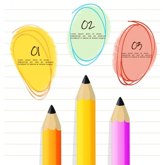Infographic template with three colored pencils