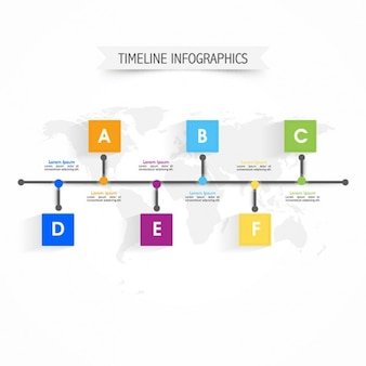Infographic template with timeline and colorful squares