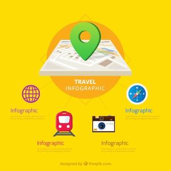 旅行要素を含むインフォグラフィックテンプレート