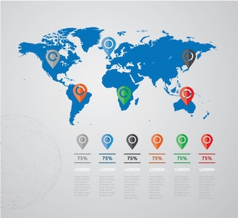 Infographic template with world map design