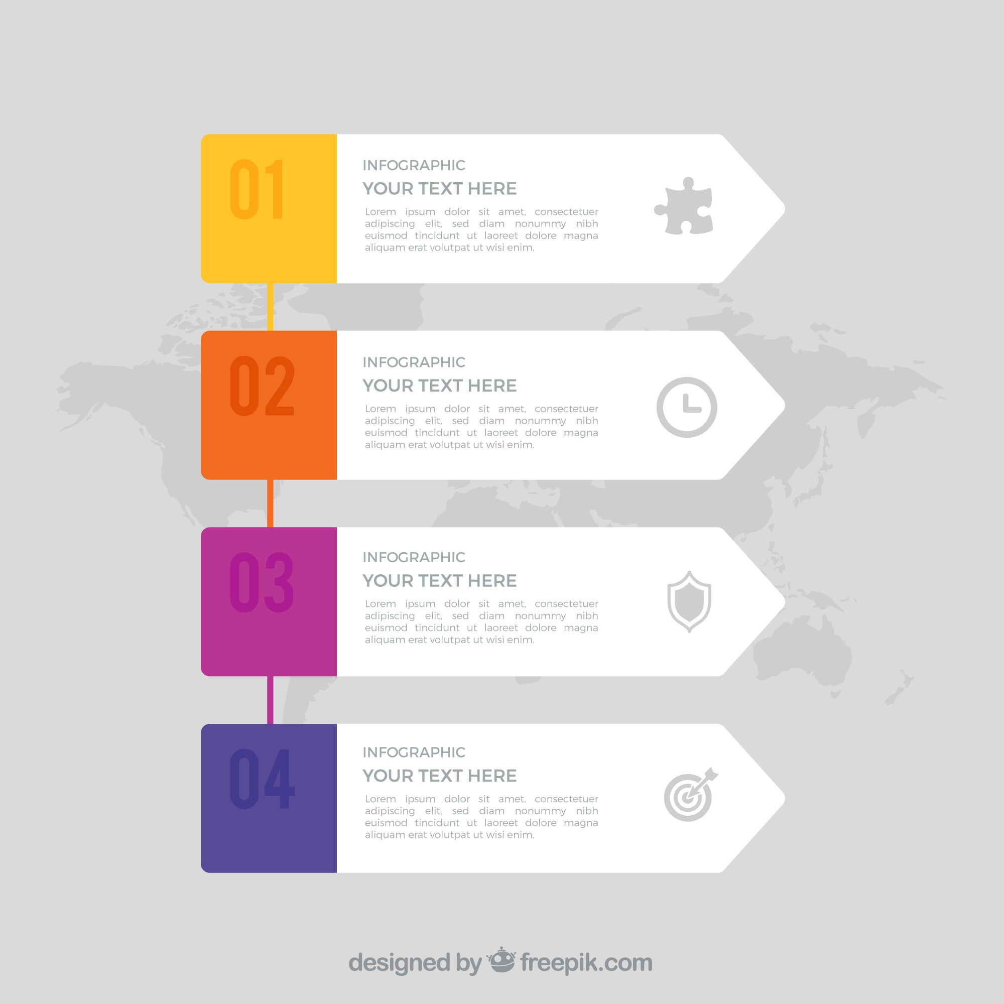 Infographic template with world map