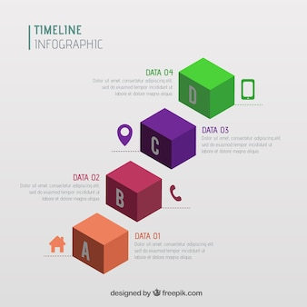 Infographic timeline in isometric style