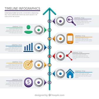 Infographic timeline with icons and details colors
