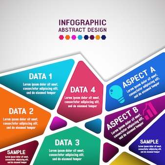 Infographic with Abstract Geometric Polygonal Design